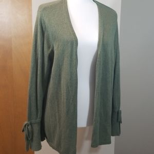 LOFT OUTLET GREEN TIE SLEEVE CARDIGAN SIZE XL